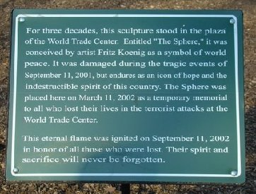 Plaque at Koenig Sphere Memorial in Battery Park