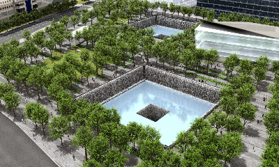Aerial of 9/11 Memorial and Museum Plaza